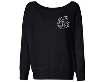 Bitey Babe Wideneck Sweater, Ladies Halloween Pullover, Vampire Fleece, Feminist Top, Grunge Shirt, Tumblr Pullover