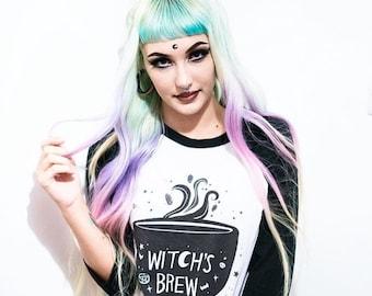 Witch's Brew Coffee Baseball Shirt, Halloween Shirt, Witch Shirt, Coffee Shirt, Soft Grunge, Goth Gift, Halloween Party Shirt, Caffeine