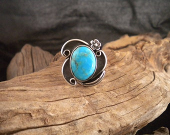 Size 9 Ring Turquoise & Sterling Silver Signed Piece Handmade