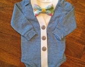 Easter Baby Boy Cardigan Bow Tie Set, Spring Colors Baby Outfit, Light Blue Infant Cardigan with Clip on Bow Tie, Baby Cardigan Bow Tie Set