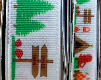 "2 Yards 3/8"" or 7/8"" White Summer Camp Tent and Campfire Print Grosgrain Ribbon - US Designer"