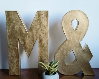faux gold metal paper mache letters 8 12 or 16 a z and custom colors available