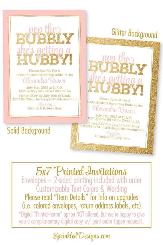Bridal Shower Invitation Pop the Bubbly Shes Getting A