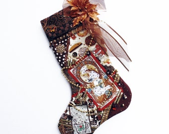 Chocolate lovers Christmas stocking, a custom handmade one-of-a-kind holiday decoration