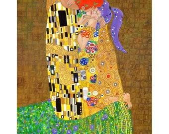 Kissurama - Art Print of Original Acrylic Painting - Alternative Gustav Klimt The Kiss - Geek Parody - Video Game Art - Katie Clark Art