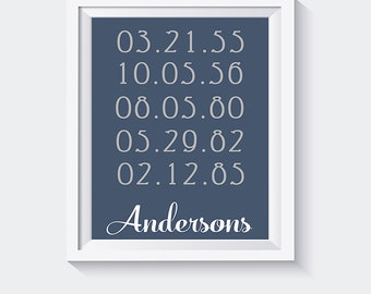 Christmas gift for mom and dad / Housewarming Gift / Important Dates sign / Family Dates wall art / Wedding gift idea / Dates art print  # 6