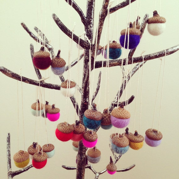 Felted wool acorn ornaments in various colors red yellow purple blue aqua white