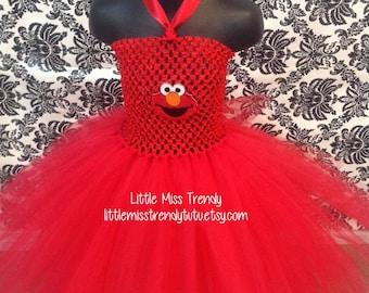 Elmo Tutu Dress, Elmo Halloween Tutu, Elmo Inspired Halloween Costume, Sesame Street Tutu Dress, Red Monster Tutu Dress, Red Tutu Dress,Elmo