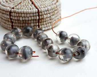 14 Small Round-Clear and Grey Czech Glass Beads-Swirl Pattern-8mm