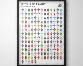 TdF Finishers Poster Print - Le Tour de France 2016 - Cycling Art Illustrated in the UK