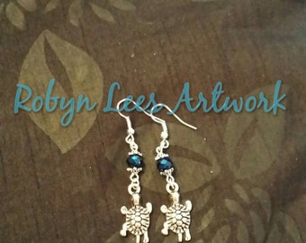 Silver Turtle Earrings with Metallic Blue Rondelle Beads and Bead Caps on Silver Hook or Posts