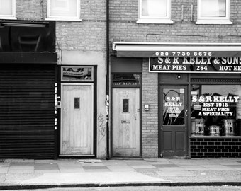 S & R Kelly and Sons Print - Black and White Photography - Bethnal Green - London Shop Front