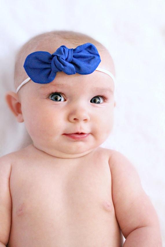 Fabric Knot Bow : Cobalt Blue Baby Hair Clip