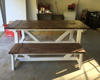 Rustic Farmhouse Dining Room Table with Bench (MADE TO ORDER)