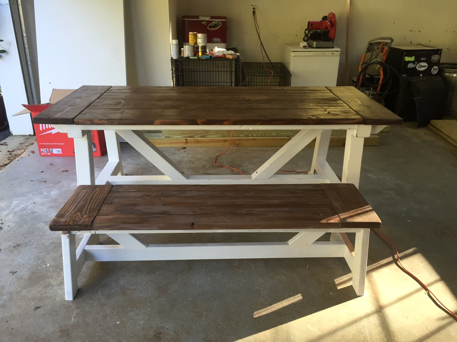 rustic farmhouse dining room table with bench made to order