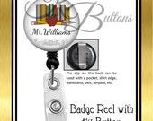 Teacher Badge Reel, Personalized Books Badge Reel, Custom Name Badge Reel, Retractable Badge Reel, Custom School Badge Reel, BRT003