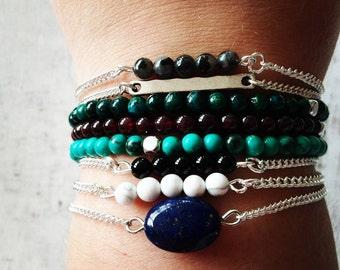 Bracelet boho natural gemstone Garnet, Turquoise, Larvikite Labradorite, Lapis Lazuli, Onyx