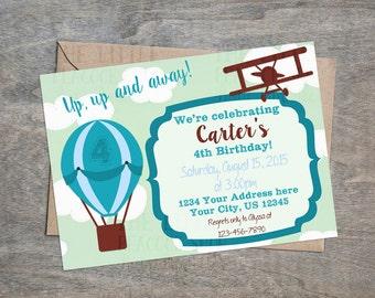 Airplane Hot air balloon Plane digital birthday party invitation! Mint and teal vintage biplane.
