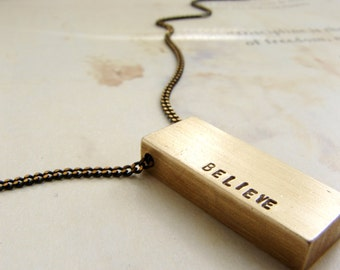 Name necklace, Personalized women necklace, Custom hand stamped Personalized necklace, gift for teens, Believe necklace personalized gift