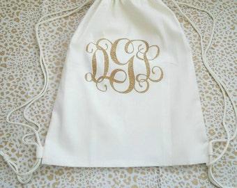 Monogrammed Drawstring Bag
