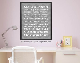 SISTER Gift for Sister Canvas Print Birthday GIFT Personalized