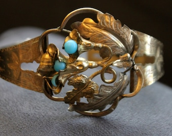 Victorian Bracelet.  Gold with Blue Beads.  Exceptional Detail. Adjustable