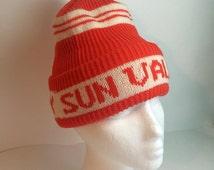Sun Valley Orange Ski Hat Beanie Puff Ball Top White Stripe Winter Knit 1970s Size Small Medium Woven Soaring Hawk Vintage Free US Shipping