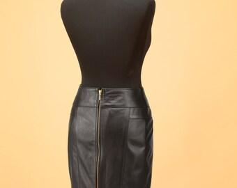 Leather skirt • Genuine leather skirt • Custom made leather skirt • Women leather skirt • Midi skirt • Black leather skirt • Womens skirts