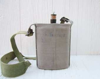 Military Canteen with Cork Top & Canvas Holder, WWII British Commonwealth Canteen with Wool Covering, British Water Canteen