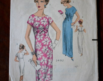 Palm Springs 1960s Weigle's  2492 bust 32 Empire line dress/ maxi