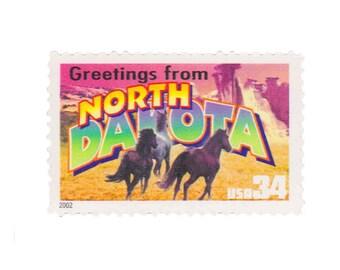 5 Unused US Postage Stamps - 2002 34c Greetings from North Dakota - Item No. 3594