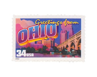 2002 Greetings from Ohio - 10 Unused 34c US Postage Stamps - Item No. 3595