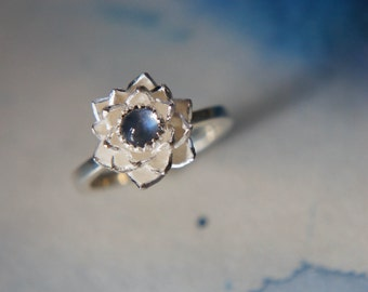Lotus ring, blue moonstone ring, sterling silver ring, flower ring, engagement ring, proposal ring, promise ring, floral jewelry, romantic