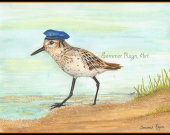 Mr. Sandpiper's day at the Beach,  Ocean, Bird,  A whimsical  card or print portrait -  Drawing with Watercolor Accents, Item #0472a