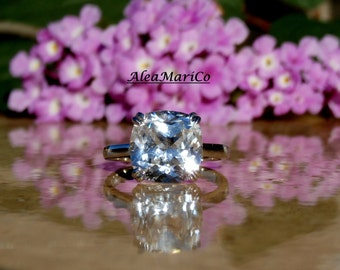 Sapphire Engagement Ring, Cushion Cut White Sapphire, 14kt, IN STOCK Size 8