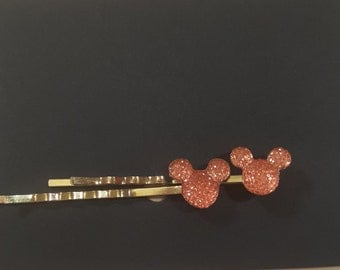 Pink mickey mouse bobby pin set - hair pins