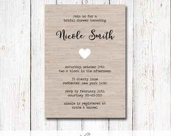 Rustic Linen Printable Bridal/Baby Shower Invite