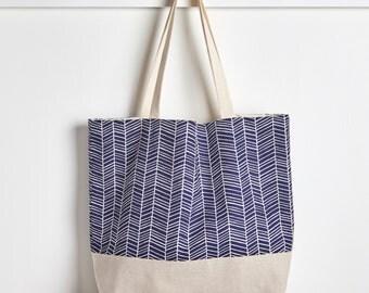 Navy Blue Herringbone Reusable Grocery Bag, Market Tote Bag, Farmers Market Bag, Machine Washable Bag, Packable Tote