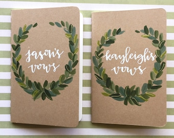 wedding vow books olive leaf wreath / his & hers / unique gift / anniversary / wedding keepsake / custom set of 2 kraft moleskine journals.