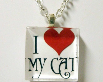 I Love My Cat pendant and chain - CGP01-005