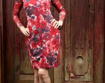 Mesh dress. Travel dress. Long sleeve mesh dress. Red Dress. Red Tango Dress. Milonga Dress. Argentine Tango Dress. Work Dress. Office Dress