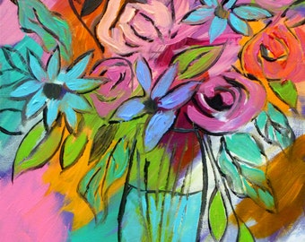 Modern Floral arrangement, original painting, flowers in vase, flower painting, floral art, floral decor, still life art, modern decor 14x18