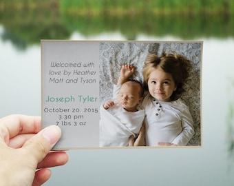 Newborn Baby Boy Birth Announcement Card | Newborn Baby Card | Newborn Baby Invitation | Baby Shower Thank You Card | Birth Card
