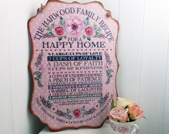 Recipe for a happy home, Recipe for love, recipe for a happy marriage, wedding gift, anniversary gift, best friend gift
