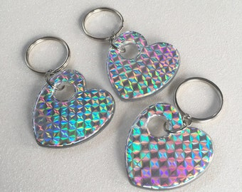 VTG 90's Holographic Heart Keychain