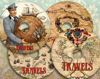 TRAVELS - Printable CD/DVD Labels Download Digital Collage Sheet  - Print and Cut