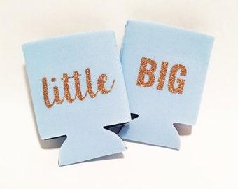 Set of 2 Can Huggers - Big Little Gold Sparkly Script Font Sorority Custom / Can Hugger / Beer Holder - Light Blue