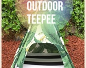 "Outdoor Pet Teepee - Medium 29"" base for small - medium dog - custom made to order"