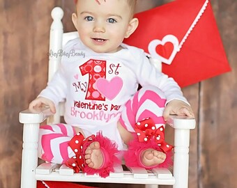 My first valentines day baby girl bodysuit headband personalized outfit birthday