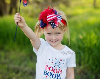 Boom boom sparkle Fourth of July embroidered girls shirt glittery silver red white blue patriotic shirt fireworks